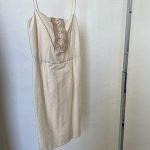 Creme Knee Length Dress with Bib Details